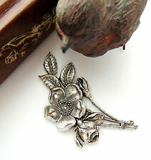 SILVER Large Flower Spray Antique Silver Ox Brass Stamping Victorian (CA-3073) `