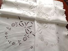 "VINTAGE HAND EMBROIDERED CUTWORK WHITE LINEN TABLE CLOTH 37X38"" SCALLOPED HEM"
