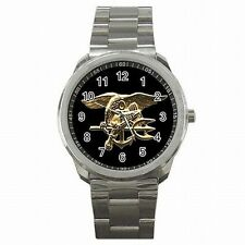 Navy Seal Trident Warfare Insignia US Stainless Steel Sport Watch New!