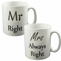MR RIGHT & MRS ALWAYS RIGHT MUGS PERFECT NOVELTY GIFT CUP VALENTINES ANNIVERSARY
