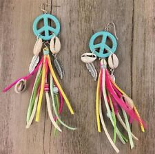 Colourful Peace Dream Catcher Shell Feather Tassel Earrings Ethnic Aztec Indian