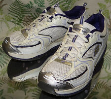 SKECHERS SHAPE UPS PURPLE SILVER LEATHER SNEAKERS WALKING SHOES US WOMENS SZ 7.5