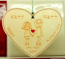 Personalised Valentines Gift Anniversary Hanging Heart Engagement Gift