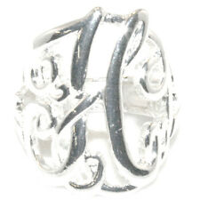 Silver Initial H  Lace Monogram Script Personalized Jewelry Stretch Ring Sz6 - 8