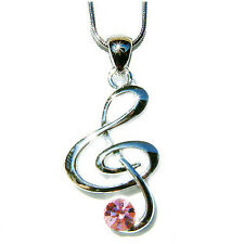 w Swarovski Crystal Pink TREBLE g CLEF MUSIC NOTE Musical Charm Pendant Necklace