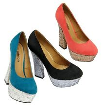 LADIES HIGH HEELS SHOES WOMENS FANCY OFFICE SMART PARTY EVENING DRESS SHOES SIZE