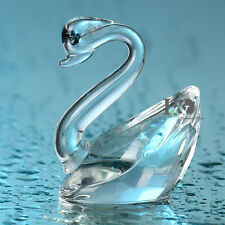 Clear Swan Crystal Glass Animal Figurines Paperweight Collectibles Wedding Gift