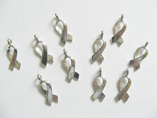10 Metal Antique Silver Ribbon Awareness Charms/Pendants - 17mm