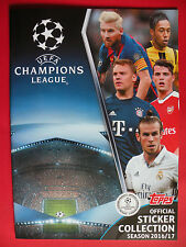 TOPPS UEFA CHAMPIONS LEAGUE 2016/17 EMPTY ALBUM + 12 STICKERS IN MINT CONDITION