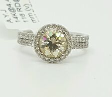 2.27 Ct Round Diamond & Canary Moissanite 14k White Gold Halo Engagement Ring