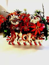 Vtg Napco Xmas NOEL Planter Napcoware Angels on Candy Cane Sled Planter Flowers