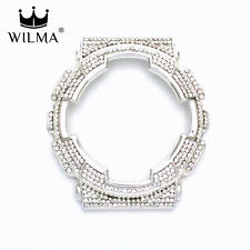 WILMA Chrome Silver Bling Metal Bezel x White Crystal FOR G-Shock GA-110 GD-100