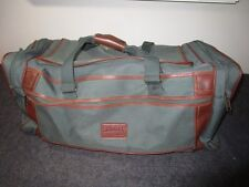 Vintage Luggage Chadwick by Skyway heavy green Canvas and Leather Duffle Bag 28""