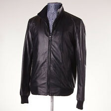 NWT $3550 ISAIA NAPOLI Black Lambskin Leather Bomber Jacket Eu 52 (42/L)