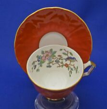 Aynsley England Bone China Tea Cup & Saucer Blue Bird & Flowers Orange Fluted