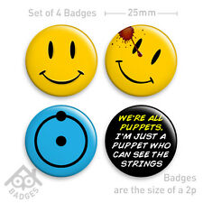 "WATCHMEN Movie Smiley  Dr Manhattan & Rorschach Comic -1"" Badge x4 Badges NEW"
