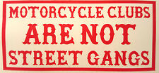 "Hells Angels  Support ""MOTORCYCLE CLUBS ARE NOT STREET GANGS"" Aufkleber, Sticker"
