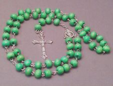 Rosary Necklace 8mm Wood Bead Silver Detail Crucifix Chain Center GREEN Last One
