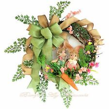 EASTER~SPRING WREATH~Bunnies~Carrot~Country~Bright~Pastel~Flowers~Decor~Garden