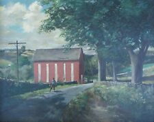 """ANTIQUE INDIANA AMERICAN IMPRESSIONIST PAINTING """"RED BARN IN THE BLUE GRASS"""" KY"""