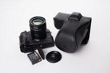 Genuine Real Leather Full Camera Case Bag Cover for FUJIFILM X-T2 XT2 Black Open