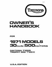Triumph Owners Manual Book 1971 Daytona T100R & Trophy T100C