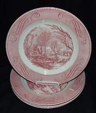 """4 Royal China* CURRIER & IVES PINK* 10"""" DINNER PLATES"""