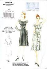 Vogue Vintage 1940s Retro Dress Ruched Bust & Belt (8-14) Sewing Pattern V8728