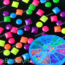 1000pcs 6 Colors Stud Nail Art 3D Design Decoration Fluorescent Studs+Wheel 053H