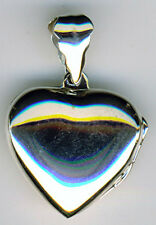 """Plata esterlina 925 Corazón Medallón/colgante llano W 3/4"""" longitud 1.1/5"""" Inc fianza"""
