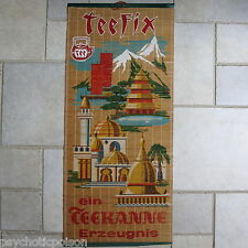 Alte Teefix Teekanne Werbung Bild auf Bambus-Matte ca. 60er Jahre exzellent
