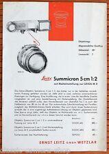 LEITZ Objektiv Prospektblatt SUMMARON 1:3,5/3,5cm SUMMICRON 1:2/5cm (X2951