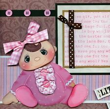 BABY GIRL ~ 2 premade scrapbook pages paper piecing layout 3D for album CHERRY