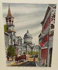 LA RUE SAINT -PAUL L' EQLISE  BON-SECOURS MARCHE  MONTREAL HAND COLORED PRINT