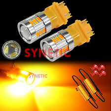 2pcs 3157 LED Light Projectors Bulb Turn Signal Amber 5630 Chip, 2 Load Resistor