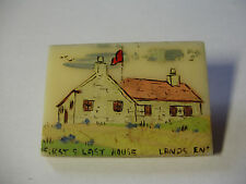 "c1930/40s Curious LANDS END ""First & Last House"" HAND PAINTED BADGE"