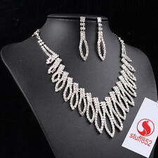 Wedding Jewelry Set Rhinestone Necklace With Earrings Women Gift Silver Plated