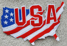 USA FLAG MAP PATCH Cloth Badge Biker Jacket Iron or Sew United States of America