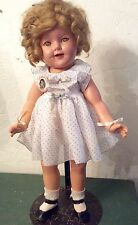 """VINTAGE 1930s IDEAL COMPOSITION SHIRLEY TEMPLE DOLL 18"""" CURLY TOP DRESS WITH PIN"""