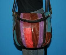 THE SAK DEENA Multicolor Patchwork Tan Brown Flap Leather Convertible Purse Bag