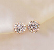 Fashion New Women Lady Elegant circle Crystal Rhinestone Ear Stud Earrings