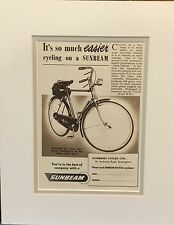 Vintage Advertisement mounted ready to frame Sunbeam Cycles Ltd, Bicycle 1955