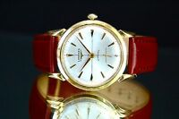 Vintage Longines 14k Solid Gold Automatic Watch, Rare Crosshair Dial, c. 1950's