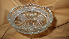 Vintage Crystal Candy Dish Compote Server Tall cut crystal Floral Motif 1950's