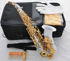 Top White Lacq Curved Soprano Saxophone sax Abalone Shell Keys + 10 Pc REED Case