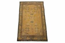 Vintage Tibetan Rug Hand Knotted Carpet 100% Wool 5'x9' Gold Circa 1960