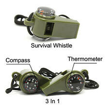 3 In 1 Survival Whistle With Compass Thermometer Army Green