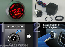 UNIVERSAL PIVOT ILLUMINATED RED PUSH BUTTON ENGINE START KIT ANY 12 volt CAR