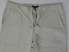Men Casual Used Pants Classic Fashion White Blue Pin Stripe Cotton Size 34 / 35