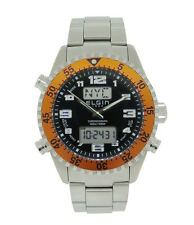 Elgin 1863 Men's Analog Digital Chronograph Stainless Steel Orange Bezel Watch